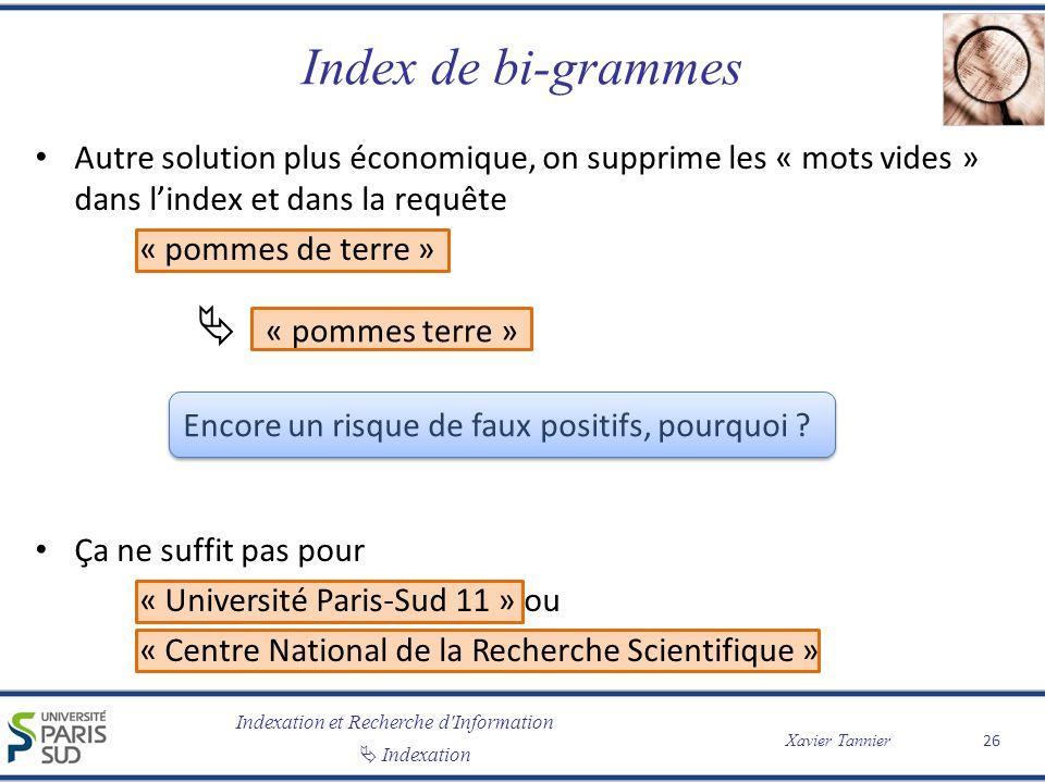 Index de bi-grammes  « pommes terre »