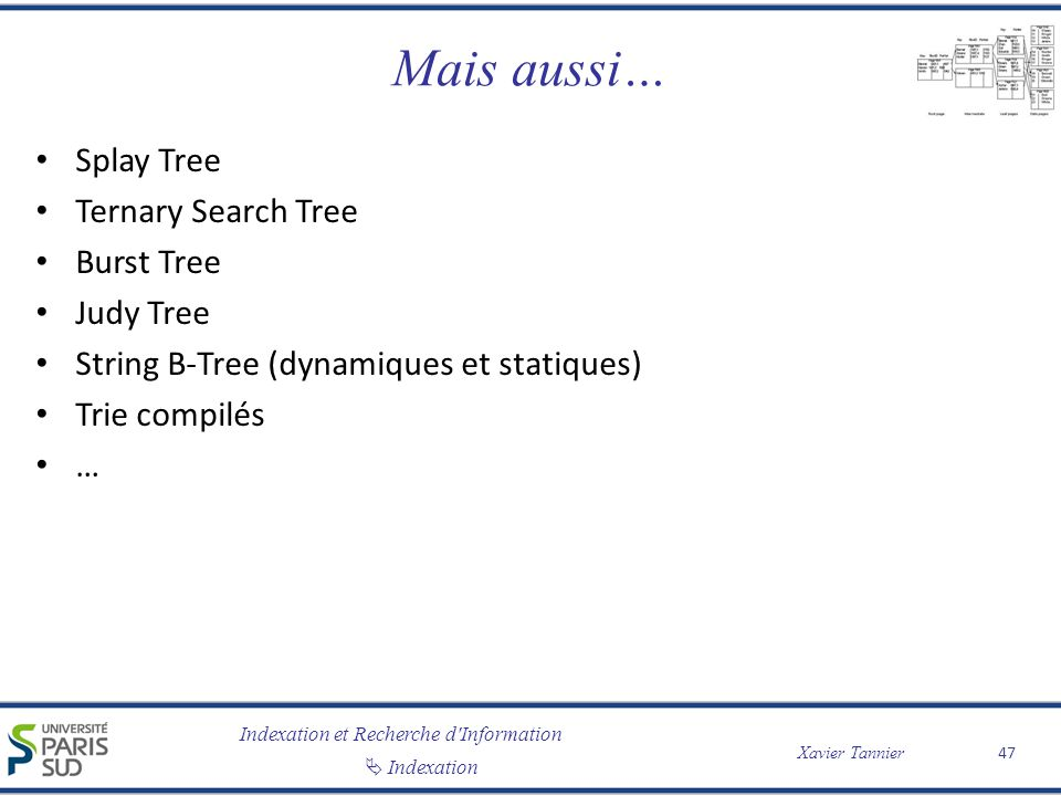 Mais aussi… Splay Tree Ternary Search Tree Burst Tree Judy Tree
