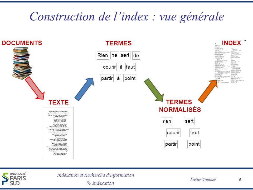 Construction de l'index : vue générale
