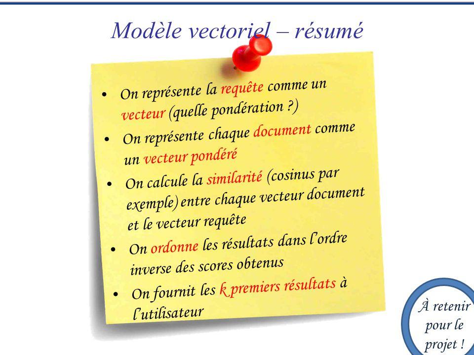 Modèle vectoriel – résumé