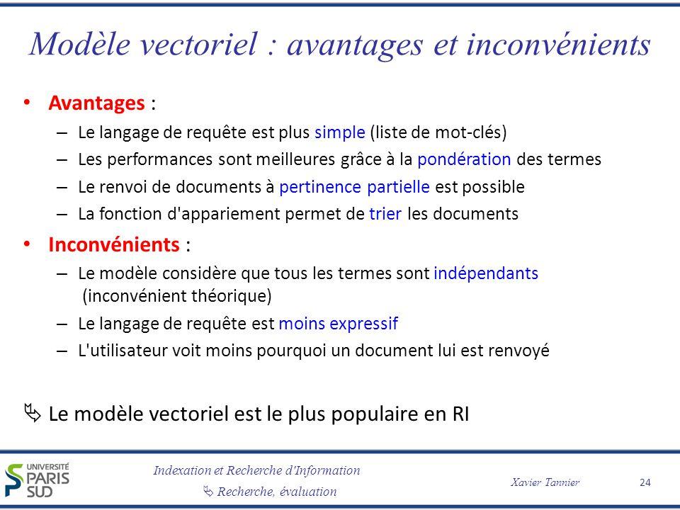 Modèle vectoriel : avantages et inconvénients