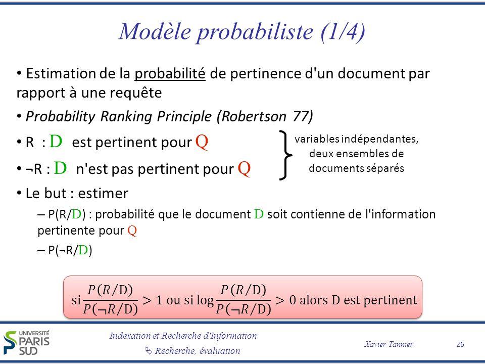 Modèle probabiliste (1/4)