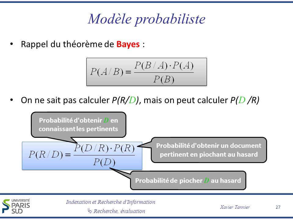 Modèle probabiliste Rappel du théorème de Bayes :