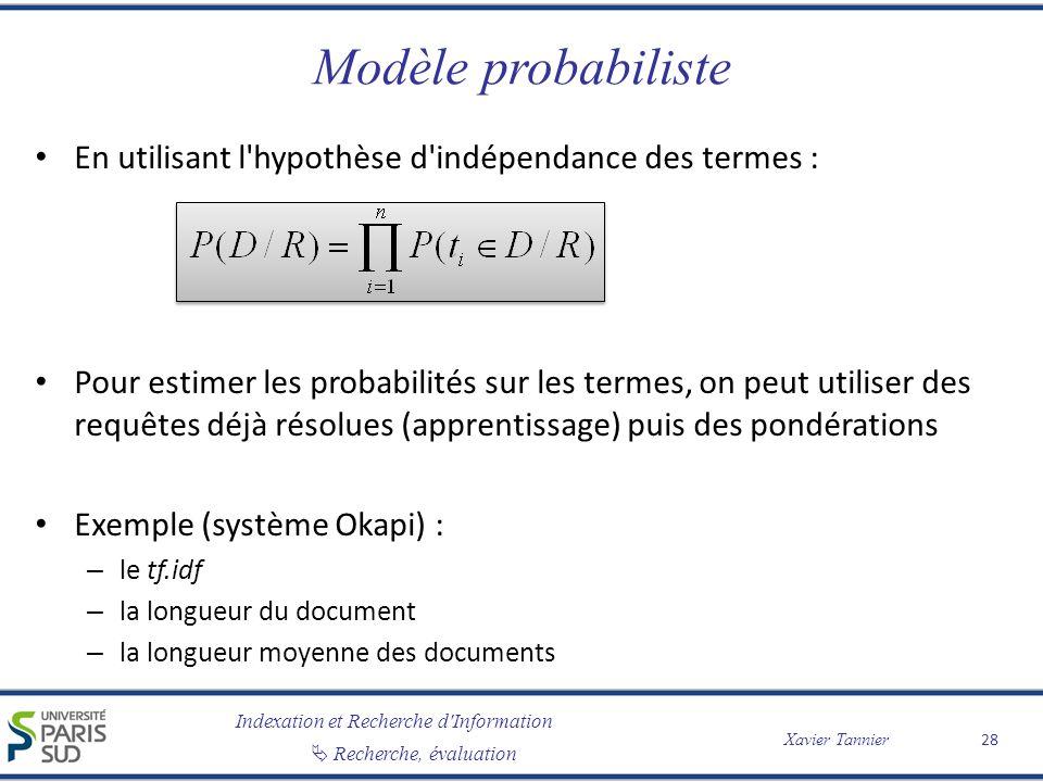 Modèle probabiliste En utilisant l hypothèse d indépendance des termes :