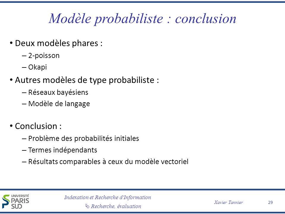 Modèle probabiliste : conclusion