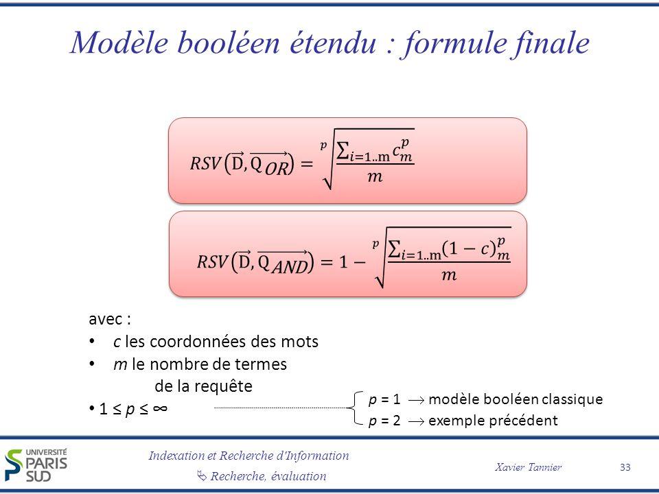 Modèle booléen étendu : formule finale