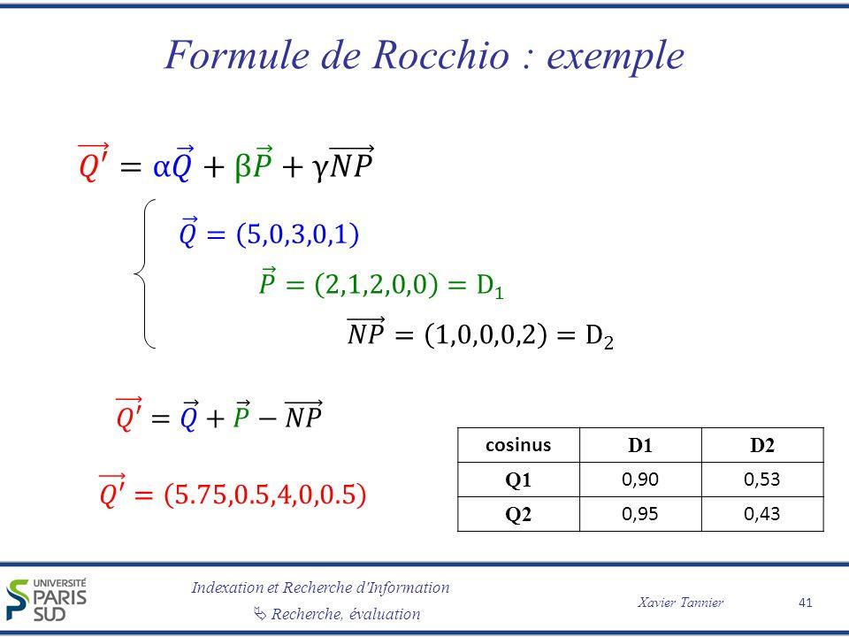 Formule de Rocchio : exemple