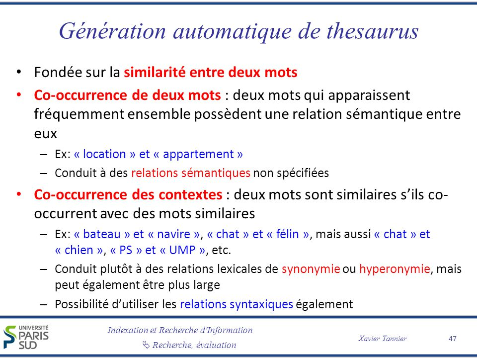 Génération automatique de thesaurus