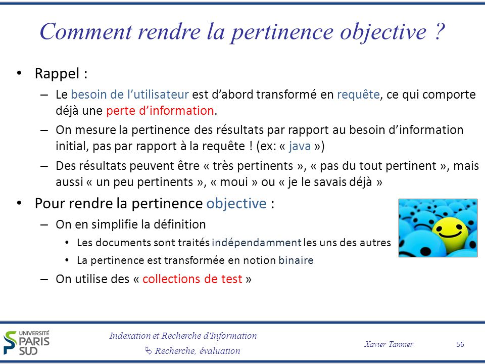 Comment rendre la pertinence objective