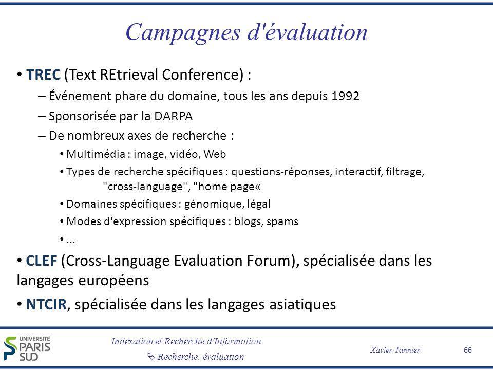 Campagnes d évaluation