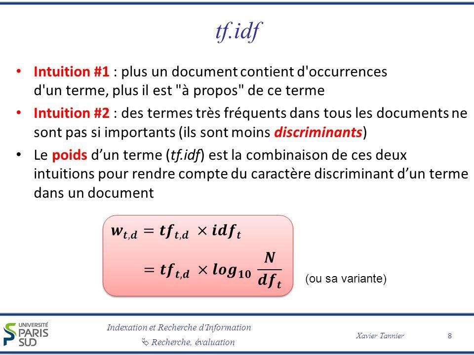 tf.idf Intuition #1 : plus un document contient d occurrences d un terme, plus il est à propos de ce terme.