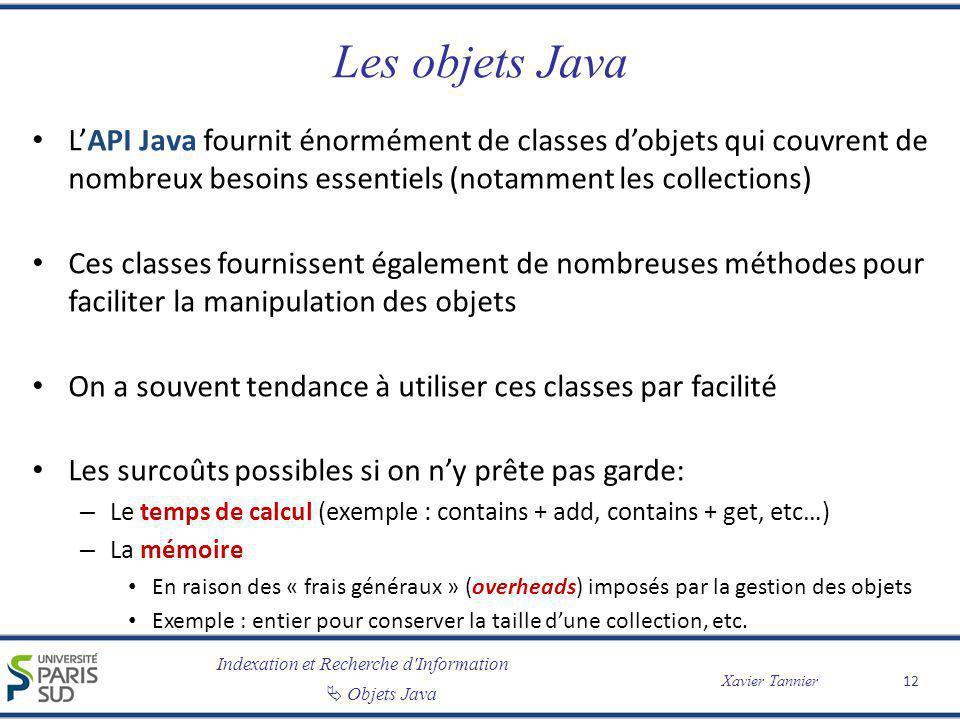 Les objets Java L'API Java fournit énormément de classes d'objets qui couvrent de nombreux besoins essentiels (notamment les collections)