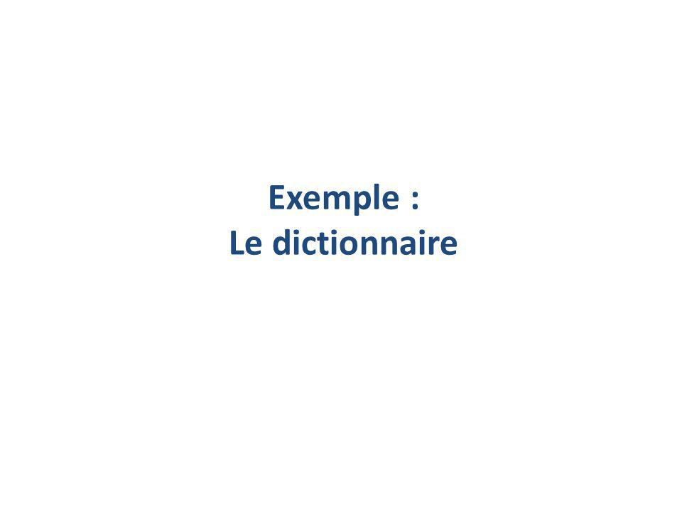 Exemple : Le dictionnaire
