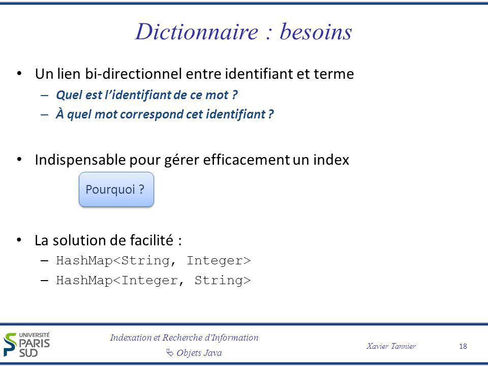 Dictionnaire : besoins