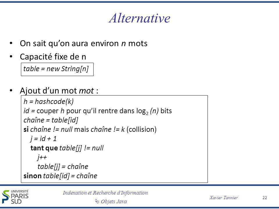 Alternative On sait qu'on aura environ n mots Capacité fixe de n