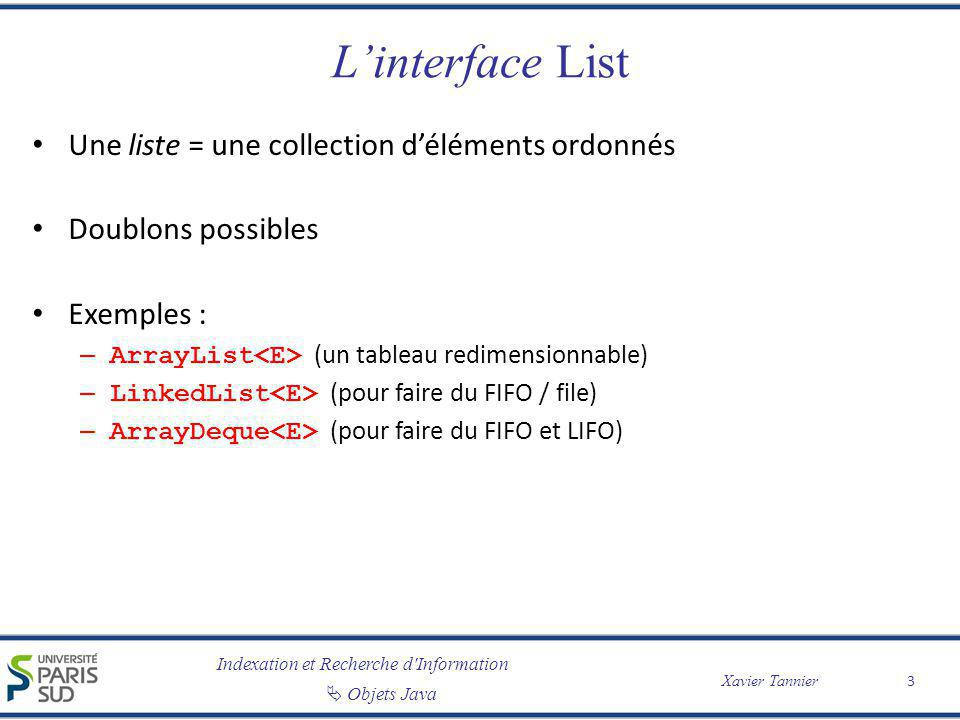L'interface List Une liste = une collection d'éléments ordonnés