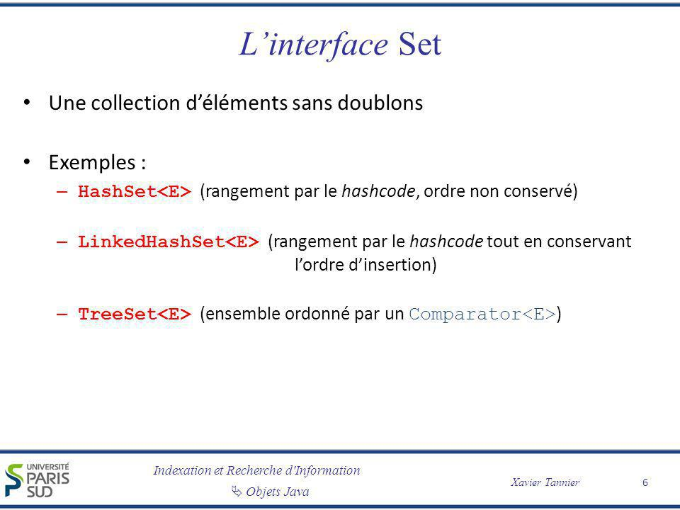 L'interface Set Une collection d'éléments sans doublons Exemples :