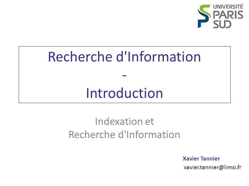 Recherche d Information - Introduction