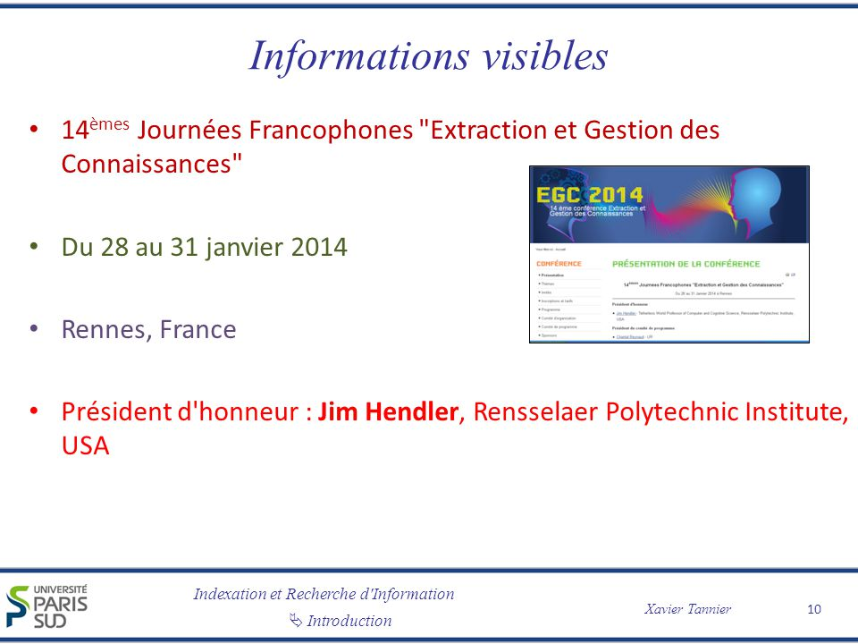 Informations visibles