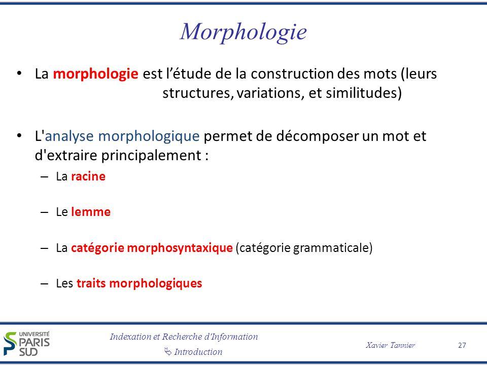 Morphologie La morphologie est l'étude de la construction des mots (leurs structures, variations, et similitudes)