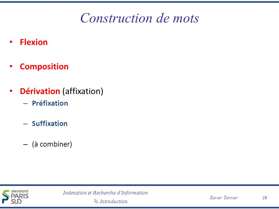Construction de mots Flexion Composition Dérivation (affixation)