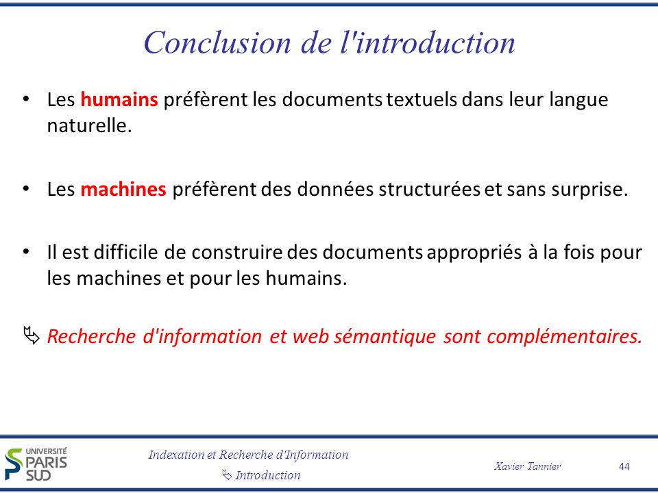 Conclusion de l introduction