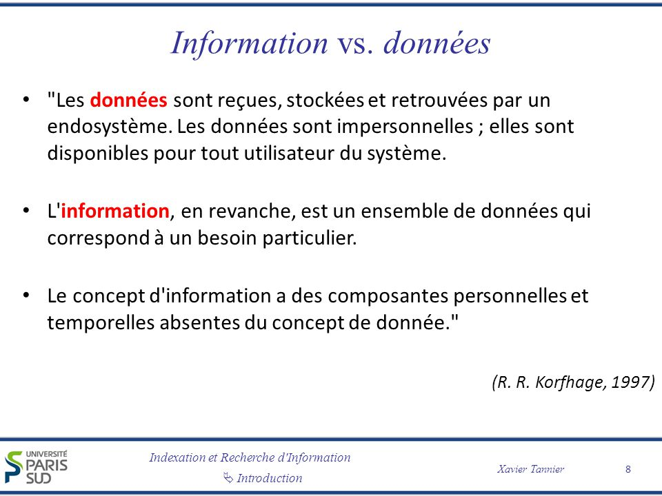 Information vs. données