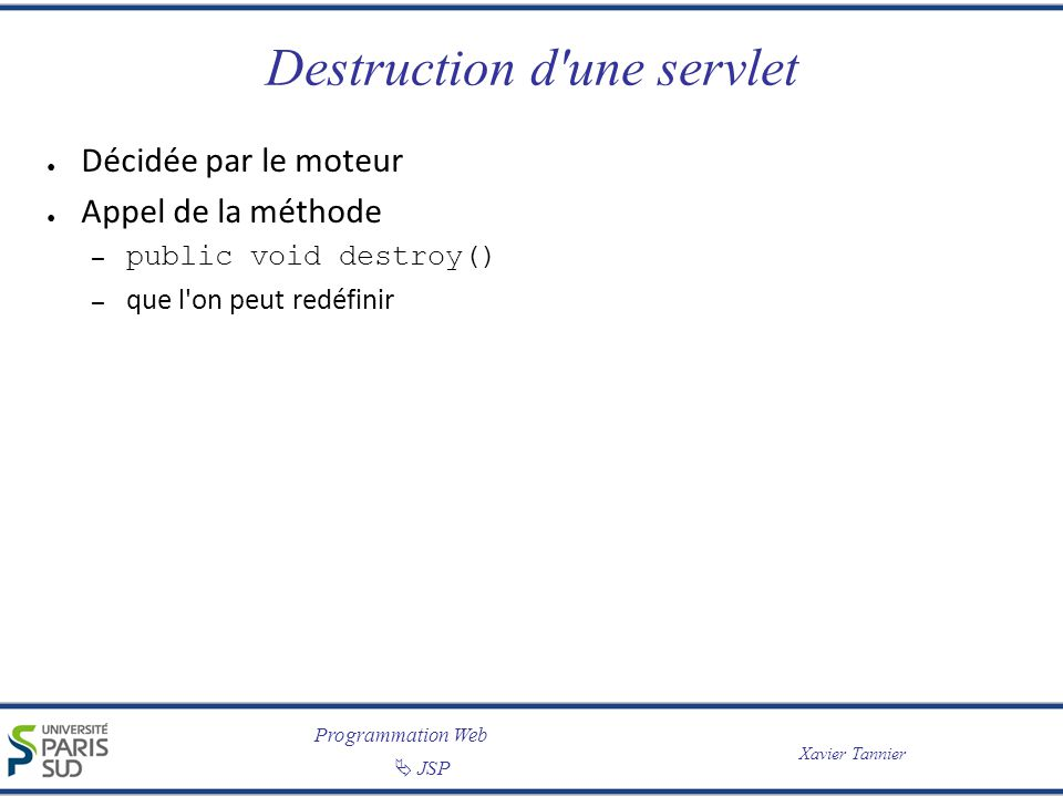 Destruction d une servlet
