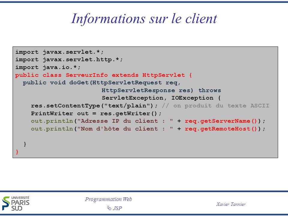 Informations sur le client