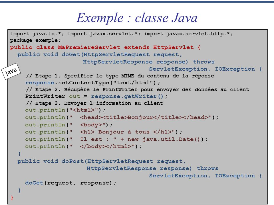 Exemple : classe Java java