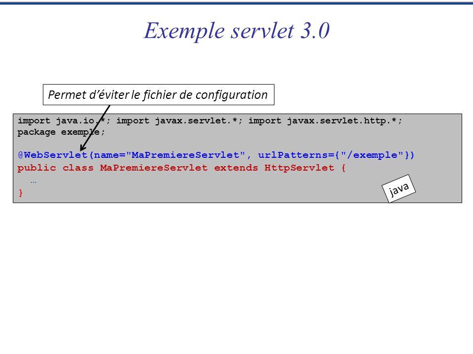 Exemple servlet 3.0 Permet d'éviter le fichier de configuration java