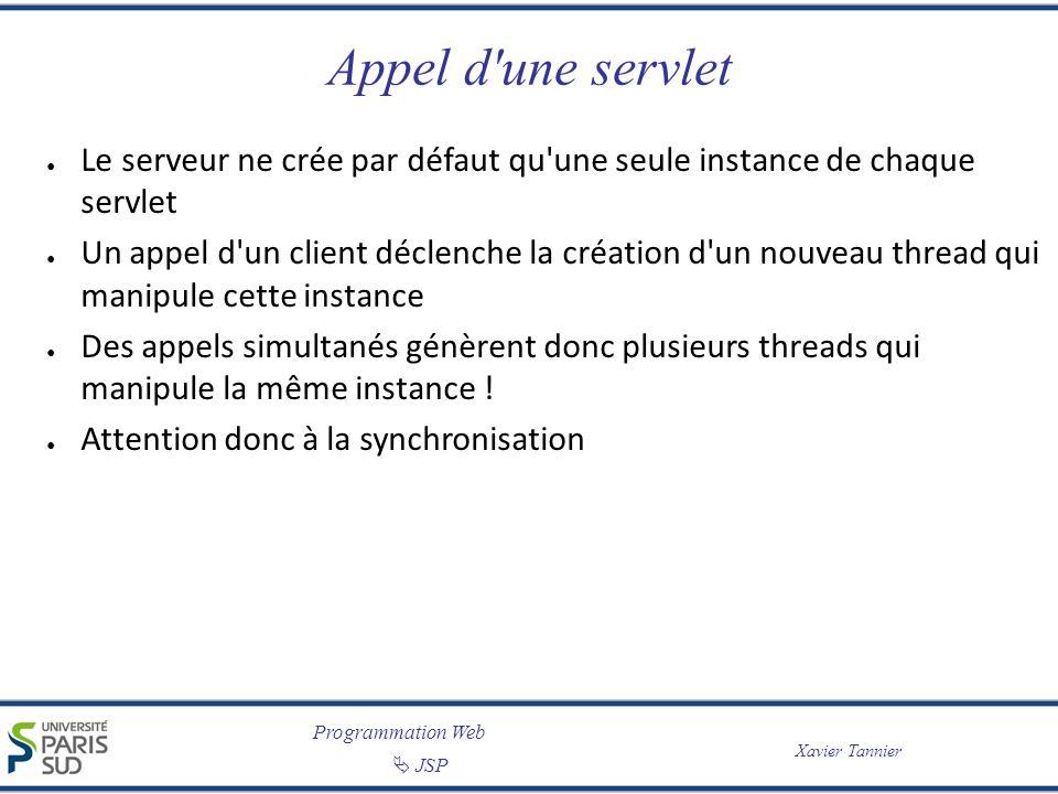 Appel d une servlet Le serveur ne crée par défaut qu une seule instance de chaque servlet.