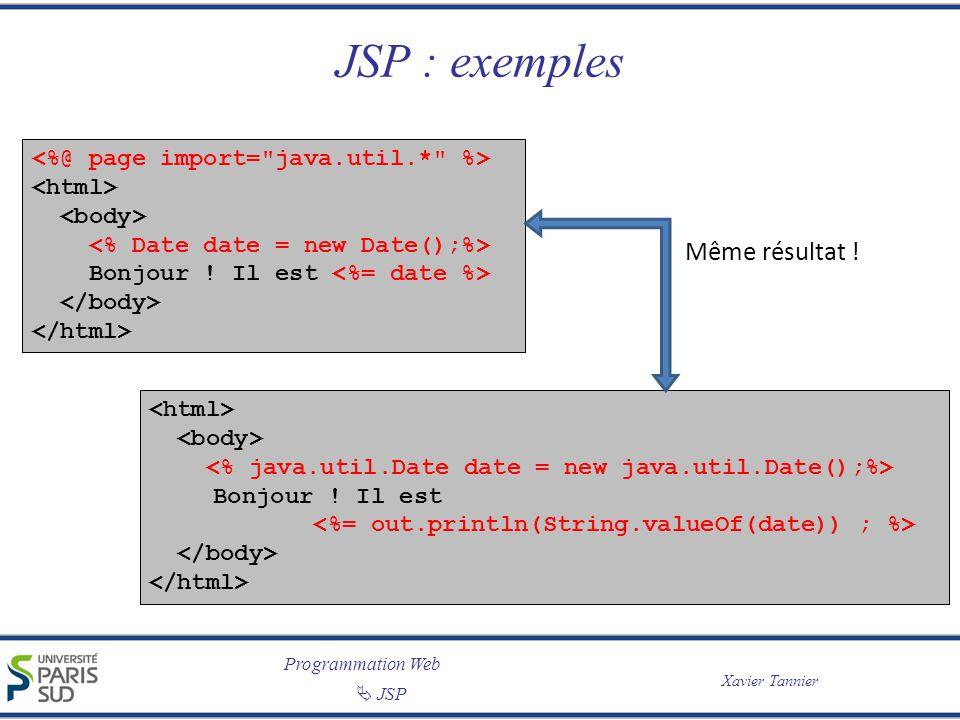 JSP : exemples Même résultat !