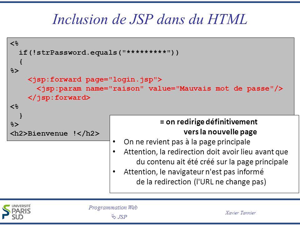 Inclusion de JSP dans du HTML
