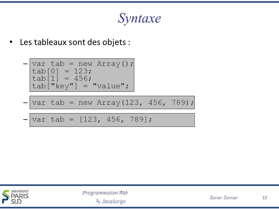 Syntaxe Les tableaux sont des objets :