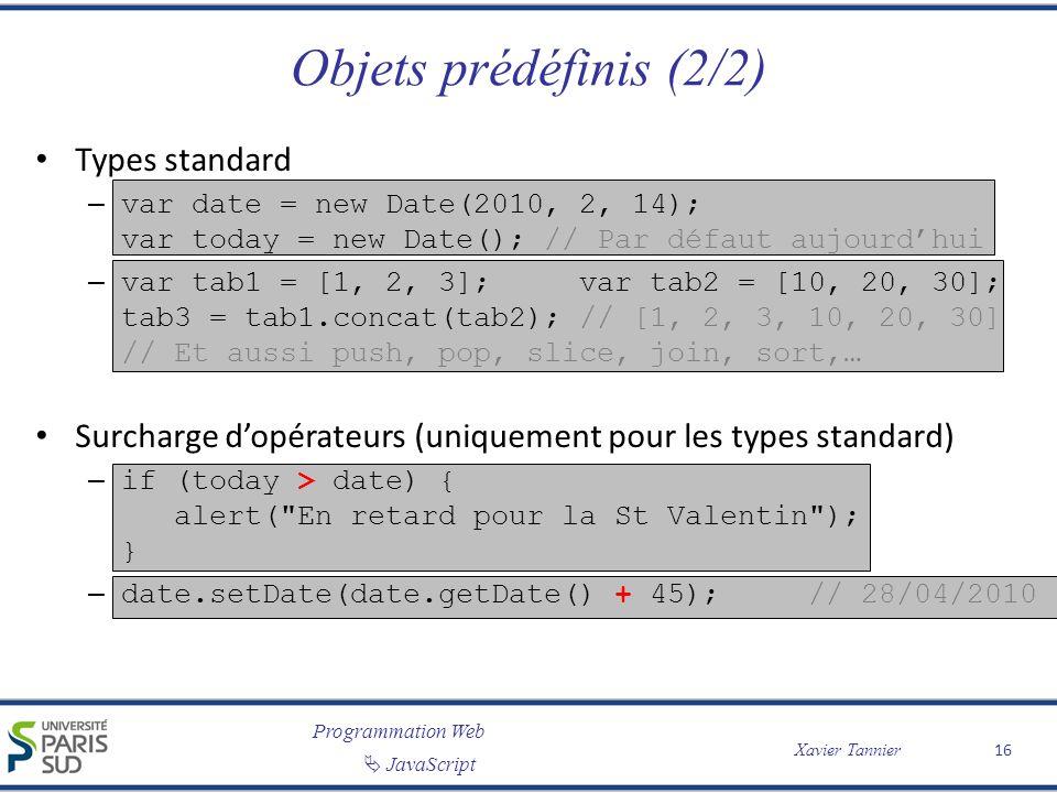Objets prédéfinis (2/2) Types standard