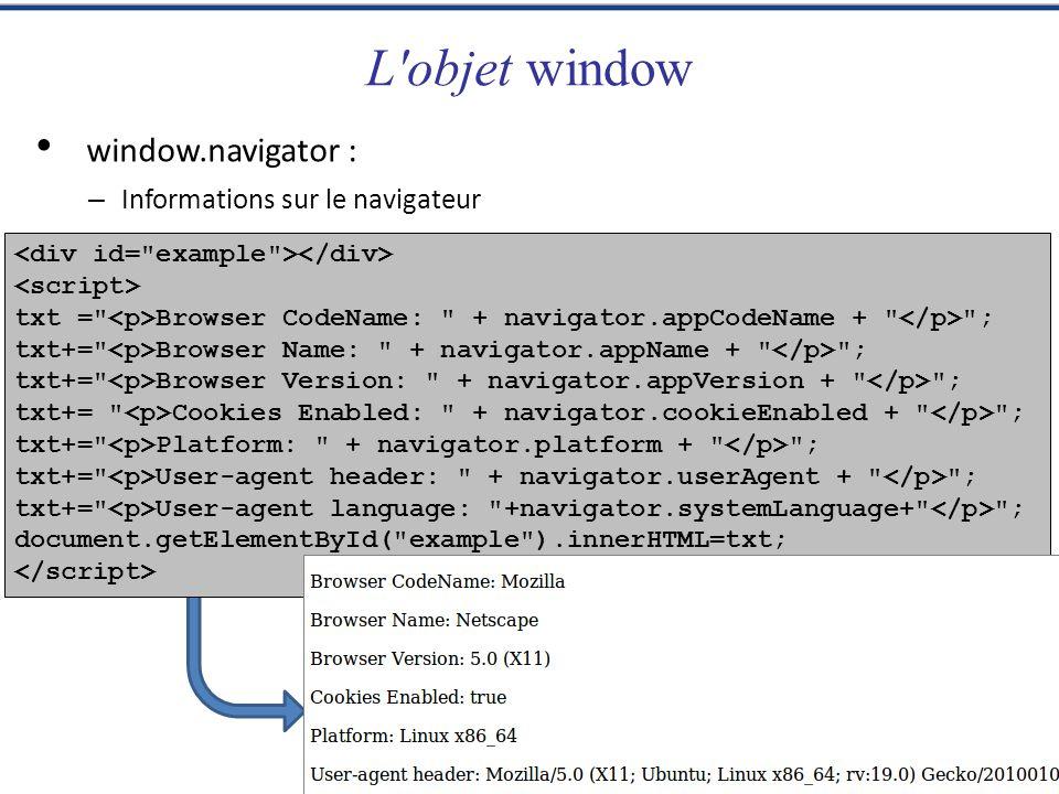 L objet window window.navigator : Informations sur le navigateur