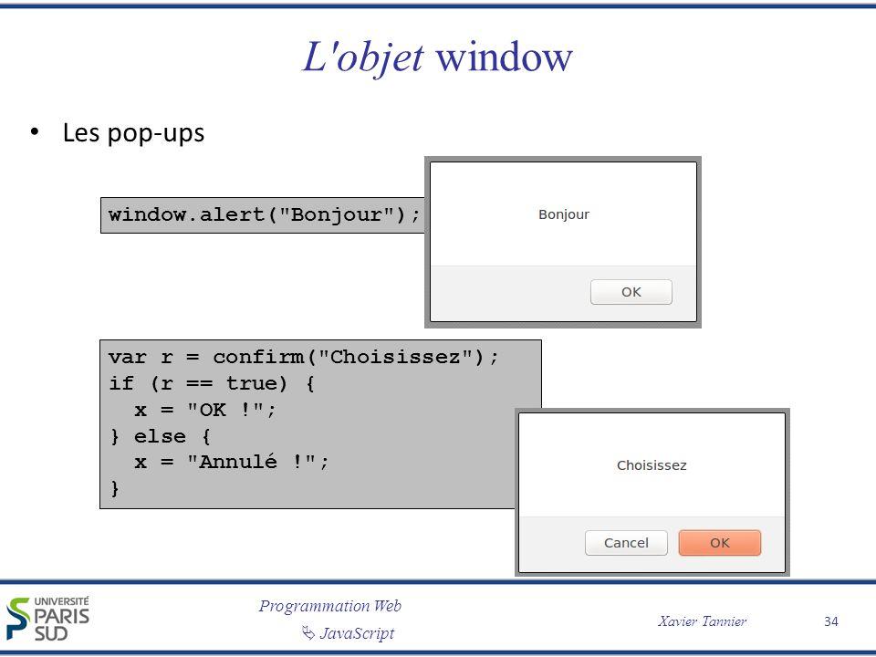 L objet window Les pop-ups window.alert( Bonjour );