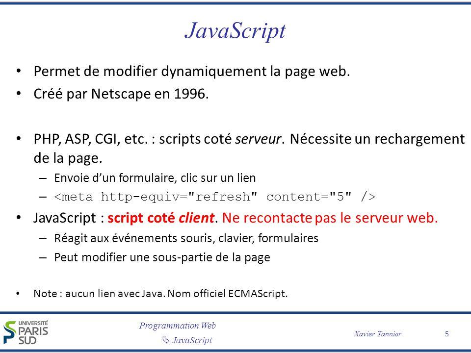 JavaScript Permet de modifier dynamiquement la page web.