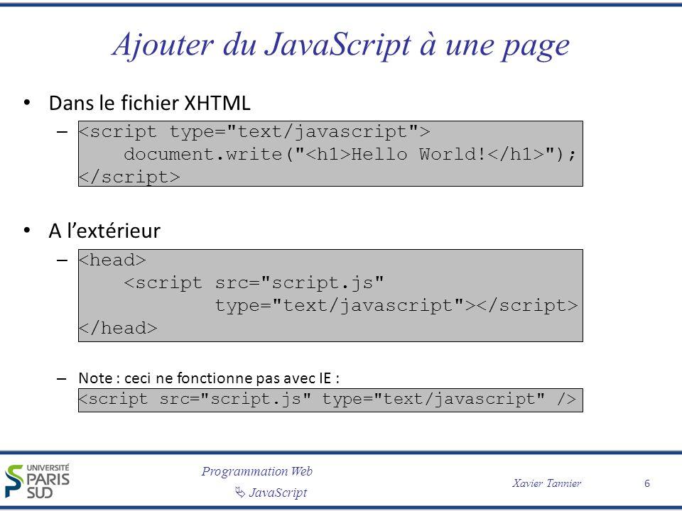 Ajouter du JavaScript à une page