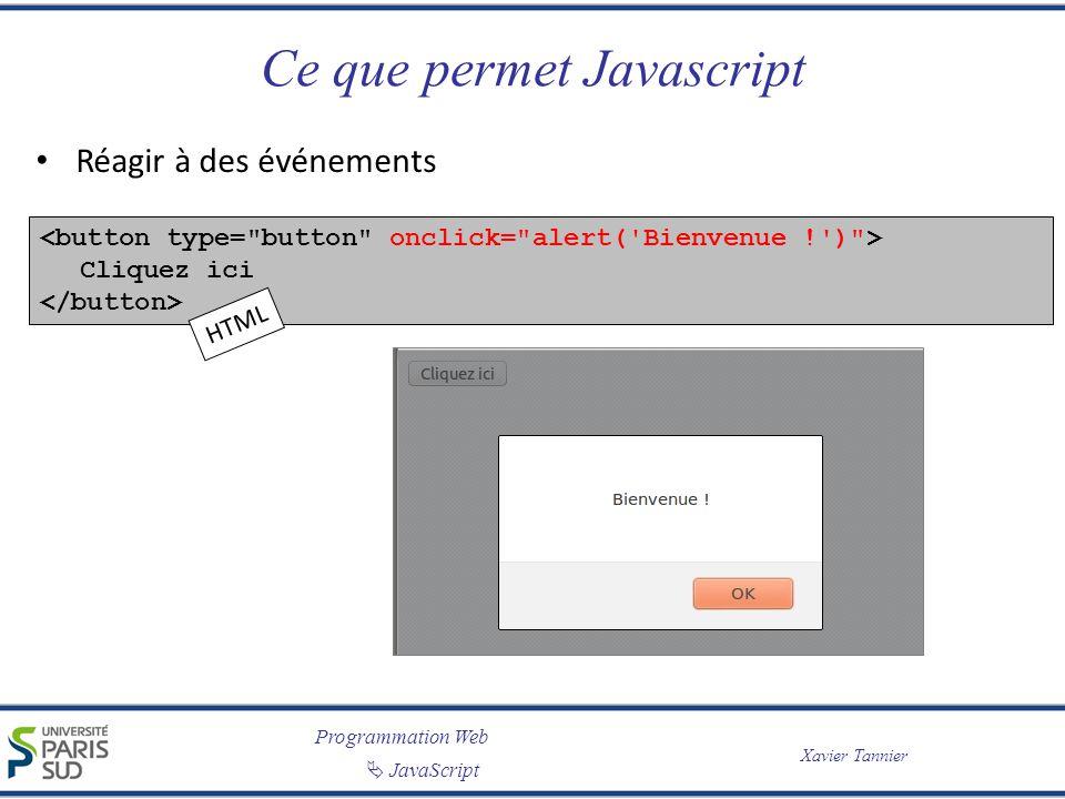Ce que permet Javascript