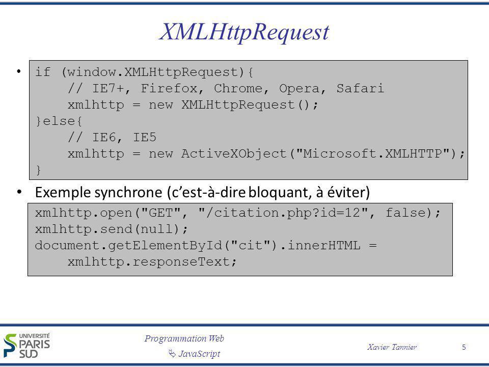 XMLHttpRequest Exemple synchrone (c'est-à-dire bloquant, à éviter)
