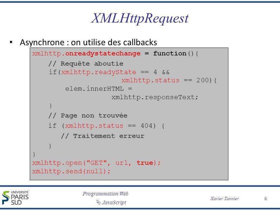 XMLHttpRequest Asynchrone : on utilise des callbacks