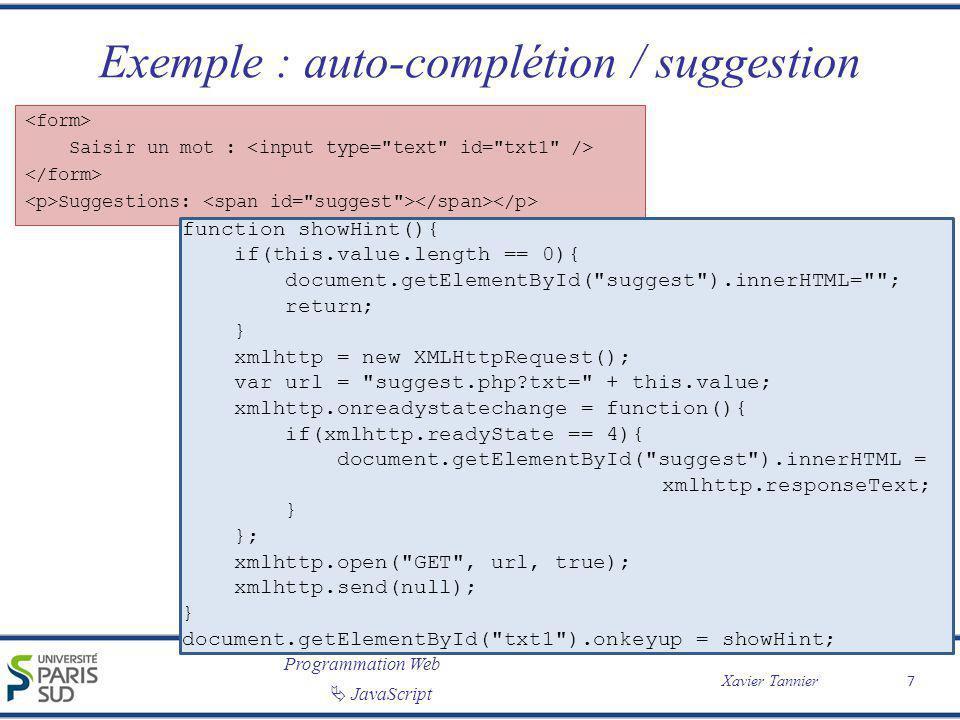 Exemple : auto-complétion / suggestion