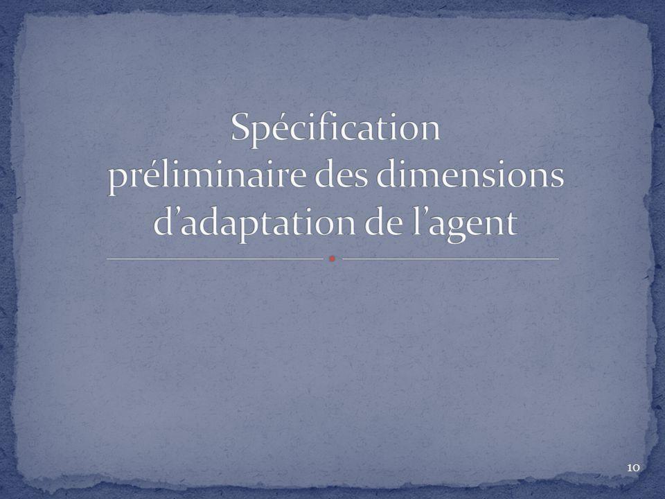Spécification préliminaire des dimensions d'adaptation de l'agent