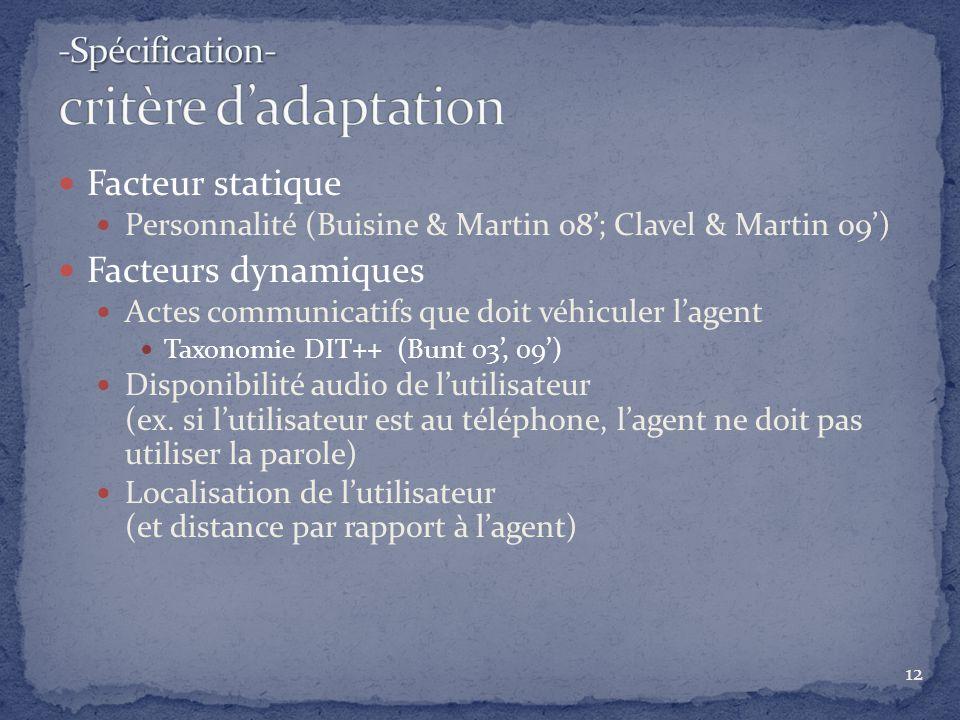 -Spécification- critère d'adaptation
