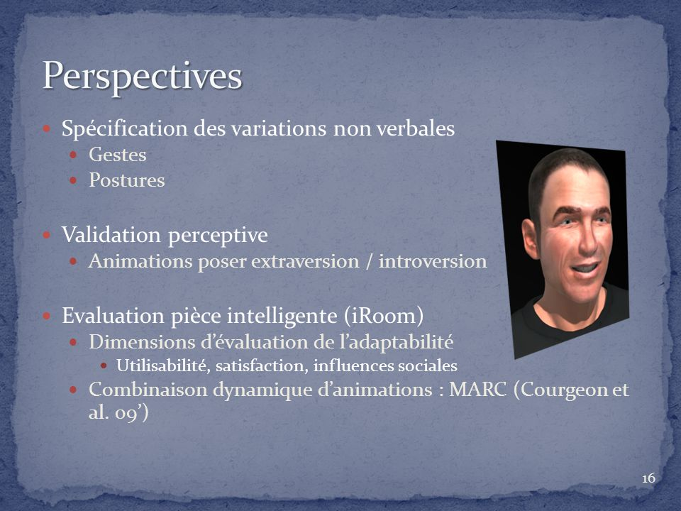 Perspectives Spécification des variations non verbales