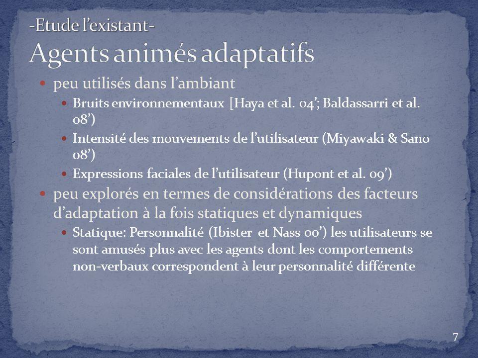 -Etude l'existant- Agents animés adaptatifs