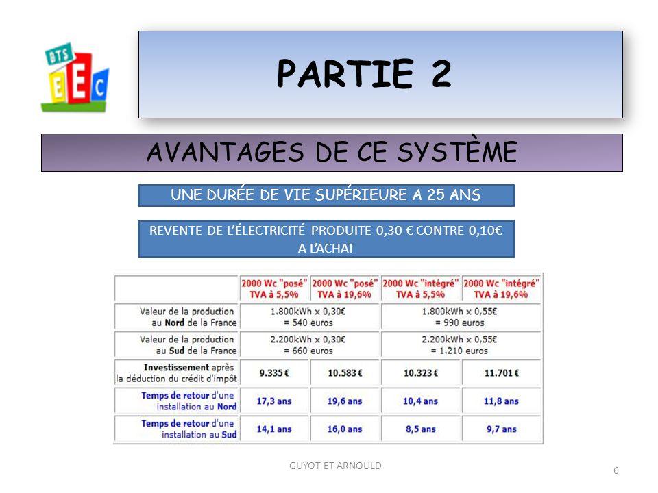 partie 2 AVANTAGES DE CE SYSTÈME UNE DURÉE DE VIE SUPÉRIEURE A 25 ANS