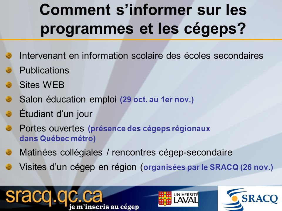 Rencontre cegep secondaire rdl